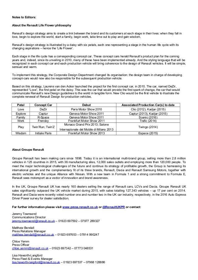Vehicle Release Form. Ends; 5 Renault Trezor Concept - Press ...