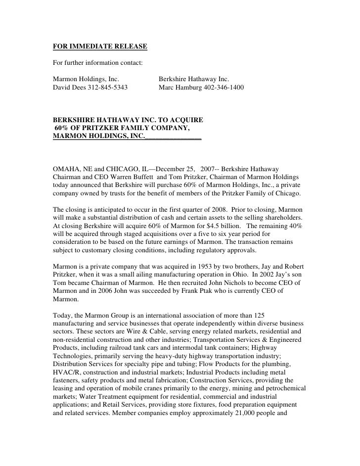 FOR IMMEDIATE RELEASE  For further information contact:  Marmon Holdings, Inc.                  Berkshire Hathaway Inc. Da...