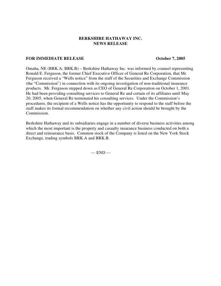 BERKSHIRE HATHAWAY INC.                                    NEWS RELEASE   FOR IMMEDIATE RELEASE                           ...