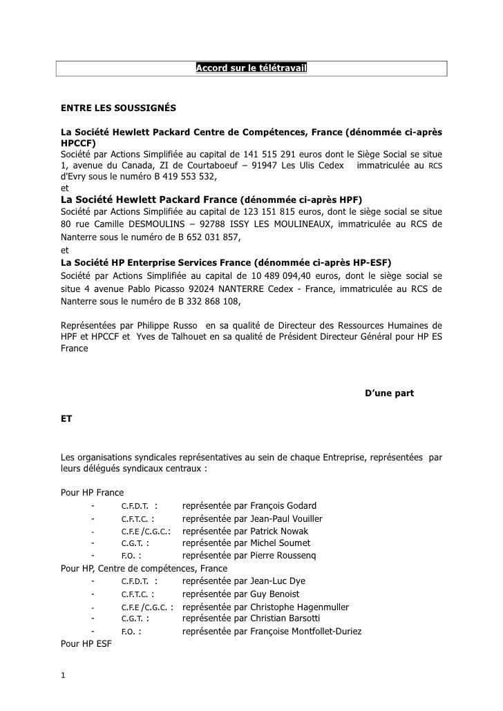 Accordsurletélétravail   ENTRELESSOUSSIGNÉS  LaSociétéHewlettPackardCentredeCompétences,France(dénommée...