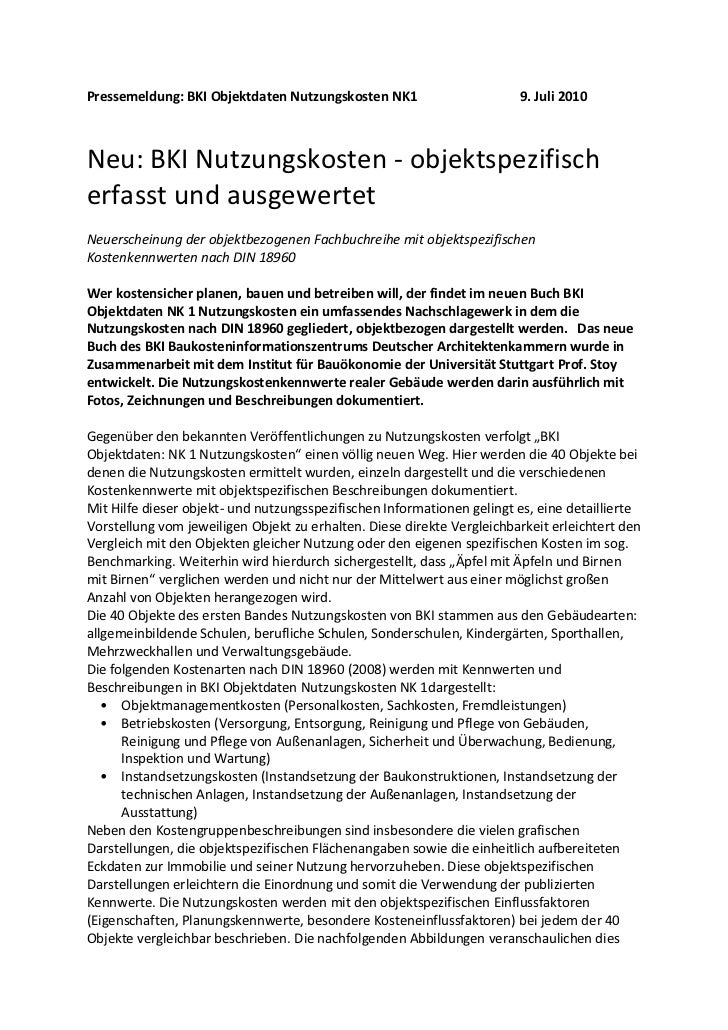 Pressemeldung: BKI Objektdaten Nutzungskosten NK1                       9. Juli 2010Neu: BKI Nutzungskosten - objektspezif...