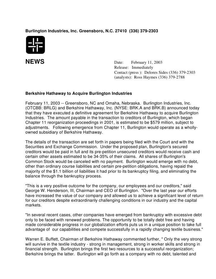 Burlington Industries, Inc. Greensboro, N.C. 27410 (336) 379-2303     NEWS                                                ...