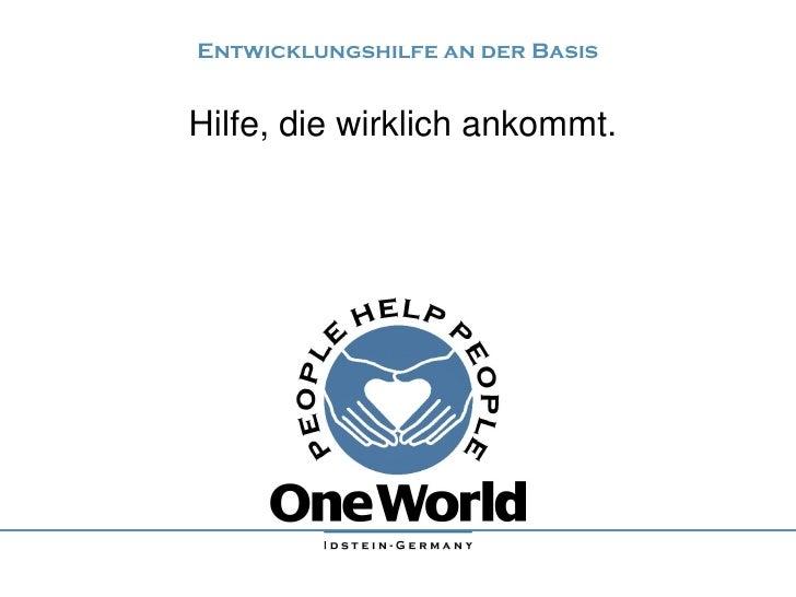 Präsentation über die Entwicklungshilfeorganisation People help People - One World