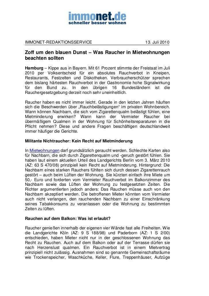 IMMONET-REDAKTIONSSERVICE                                      13. Juli 2010Zoff um den blauen Dunst – Was Raucher in Miet...