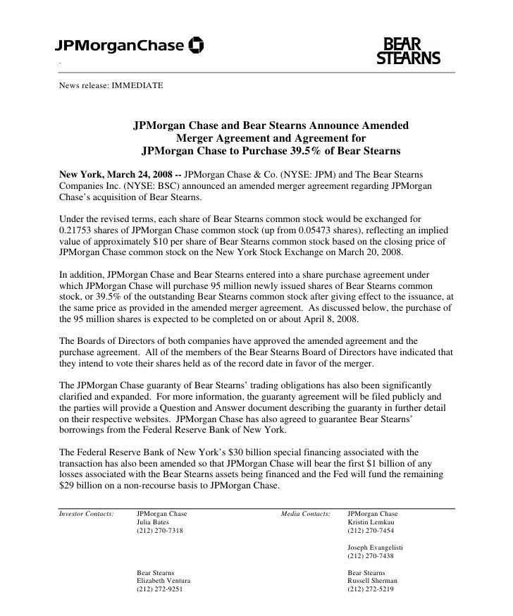.   News release: IMMEDIATE                         JPMorgan Chase and Bear Stearns Announce Amended                      ...