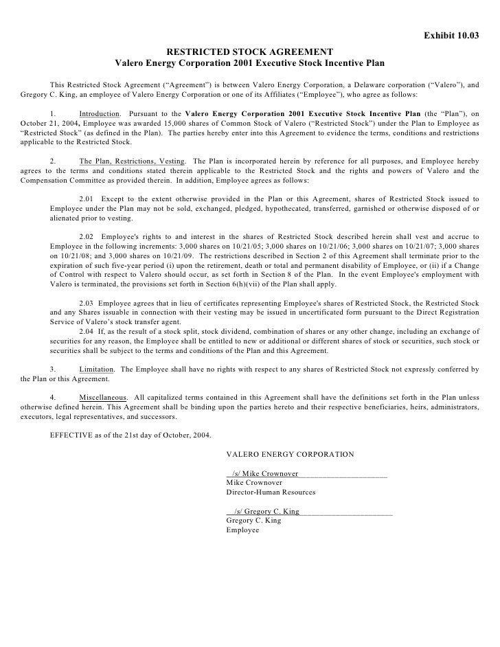 Restricted Stock Agreement Choice Image Agreement Letter Format