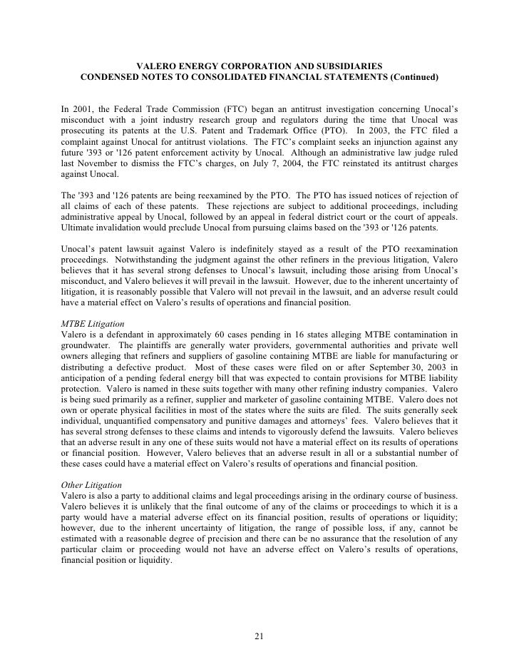 VALERO ENERGY CORPORATION AND SUBSIDIARIES      CONDENSED NOTES TO CONSOLIDATED FINANCIAL STATEMENTS (Continued)   In 2001...