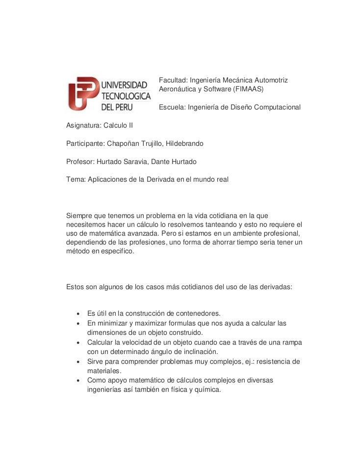 Facultad: Ingeniería Mecánica Automotriz                             Aeronáutica y Software (FIMAAS)                      ...