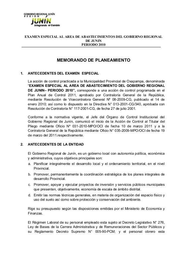 EXAMEN ESPECIAL AL AREA DE ABASTECIMIENTOS DEL GOBIERNO REGIONAL DE JUNIN PERIODO 2010 MEMORANDO DE PLANEAMIENTO 1. ANTECE...