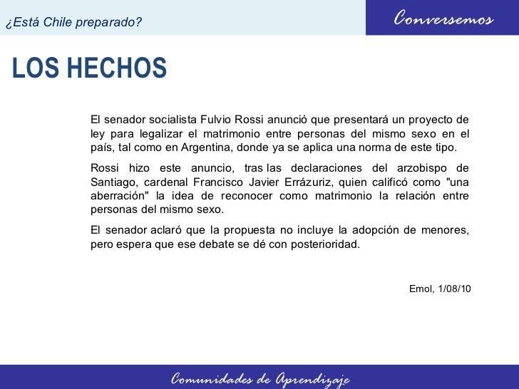 Debate sobre el matrimonio homosexual en chile en contra