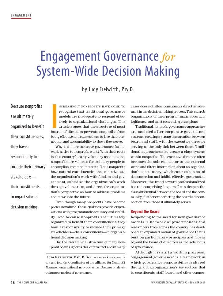 E N G AG E M E N T                           Engagement Governance for                      System-Wide Decision Making   ...