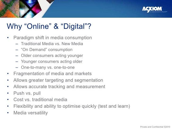 """Why """"Online"""" & """"Digital""""? <ul><li>Paradigm shift in media consumption </li></ul><ul><ul><li>Traditional Media vs. New Medi..."""