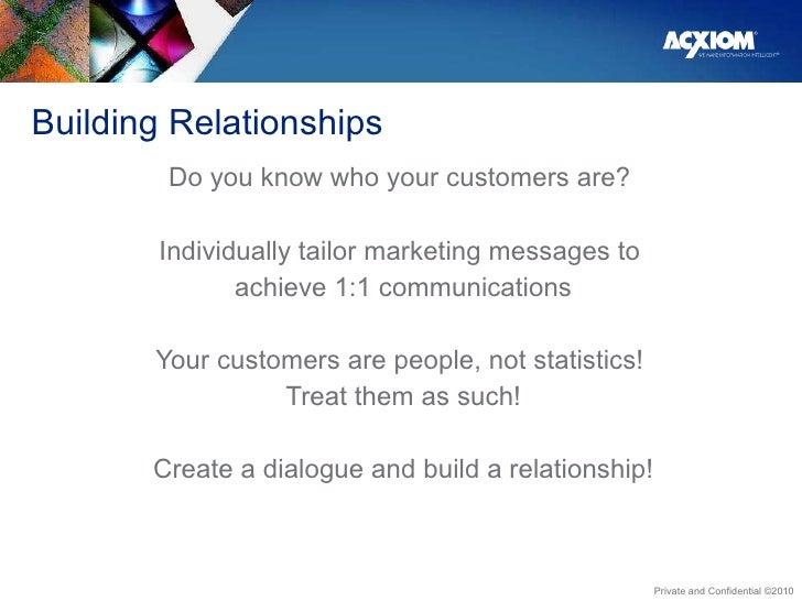 Building Relationships <ul><li>Do you know who your customers are?  </li></ul><ul><li>Individually tailor marketing messag...