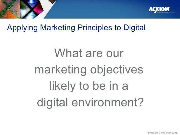 Applying Marketing Principles to Digital <ul><li>What are our  </li></ul><ul><li>marketing objectives  </li></ul><ul><li>l...