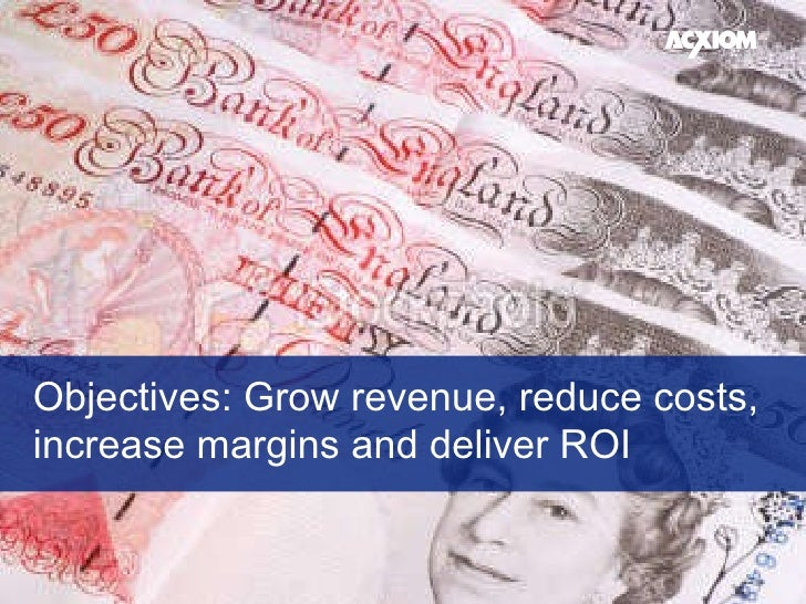 Objectives: Grow revenue, reduce costs,  increase margins and deliver ROI