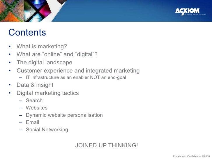 """Contents  <ul><li>What is marketing? </li></ul><ul><li>What are """"online"""" and """"digital""""? </li></ul><ul><li>The digital land..."""