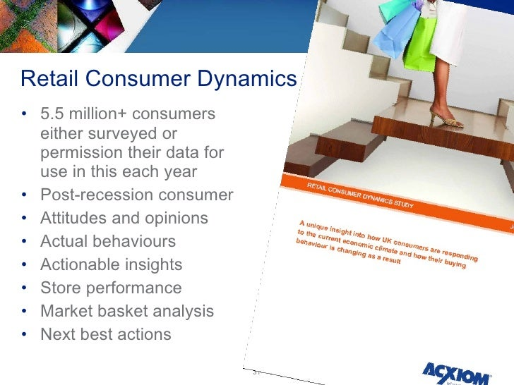 Retail Consumer Dynamics <ul><li>5.5 million+ consumers either surveyed or permission their data for use in this each year...