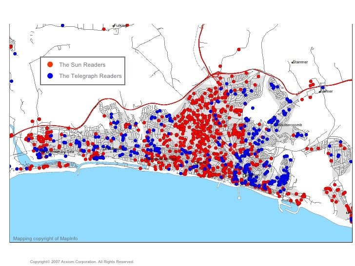 Mapping copyright of MapInfo Copyright   2007 Acxiom Corporation. All Rights Reserved. The Sun Readers The Telegraph Read...
