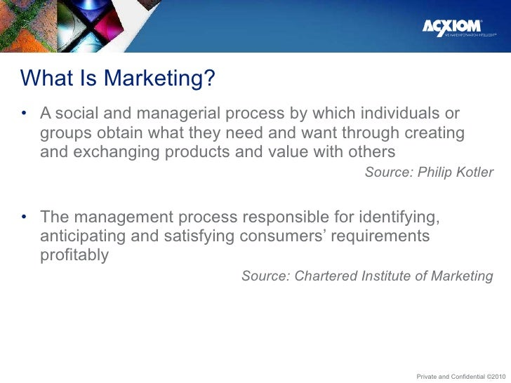 What Is Marketing?  <ul><li>A social and managerial process by which individuals or groups obtain what they need and want ...