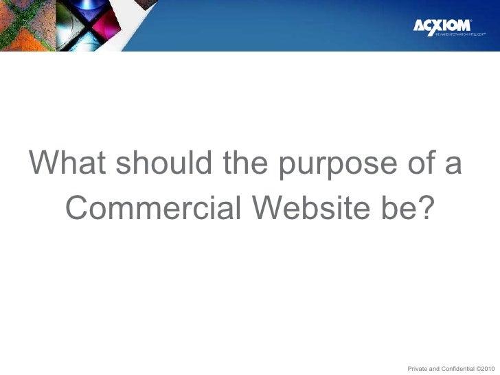 <ul><li>What should the purpose of a  </li></ul><ul><li>Commercial Website be? </li></ul>