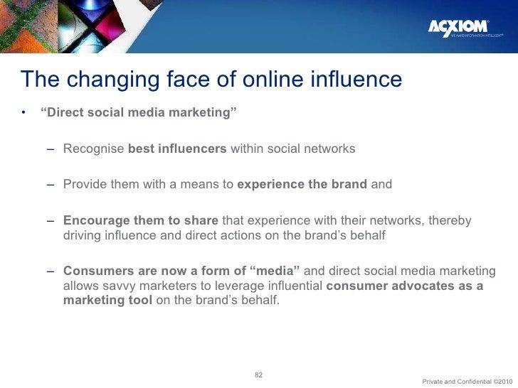 "The changing face of online influence <ul><li>"" Direct social media marketing""  </li></ul><ul><ul><li>Recognise  best infl..."