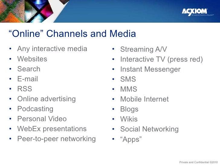 """"""" Online"""" Channels and Media <ul><li>Any interactive media </li></ul><ul><li>Websites </li></ul><ul><li>Search </li></ul><..."""