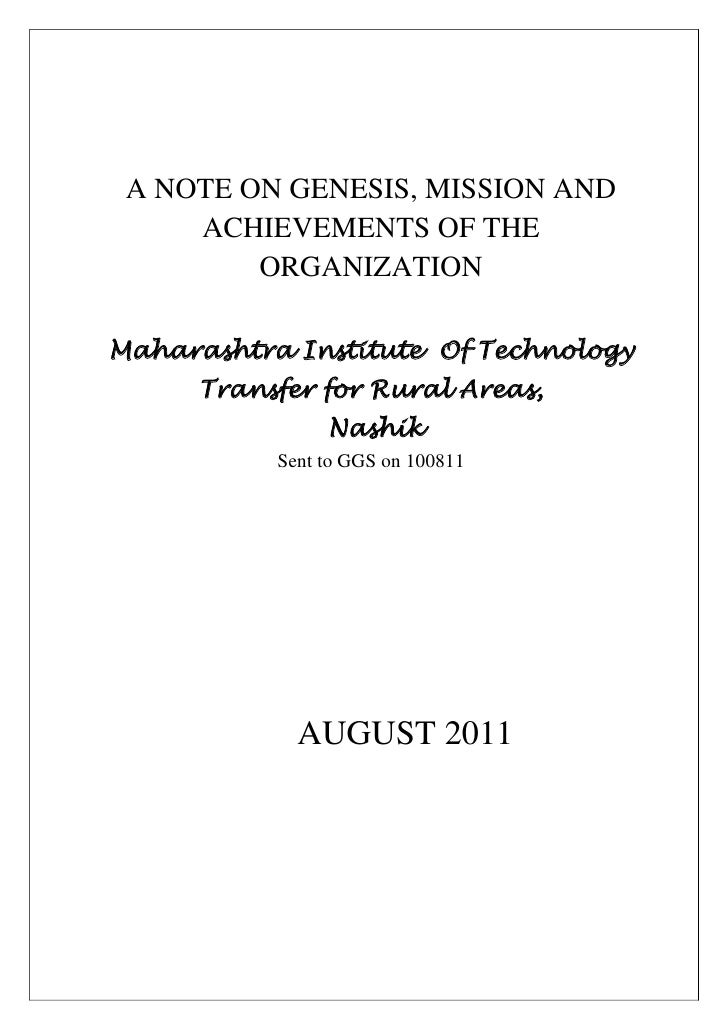 A NOTE ON GENESIS, MISSION AND ACHIEVEMENTS OF THE ORGANIZATIONMaharashtra Institute  Of Technology Transfer for Rural Are...