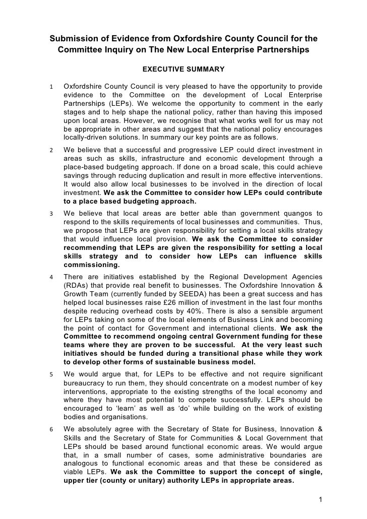 Submission of Evidence from Oxfordshire County Council for the  Committee Inquiry on The New Local Enterprise Partnerships...