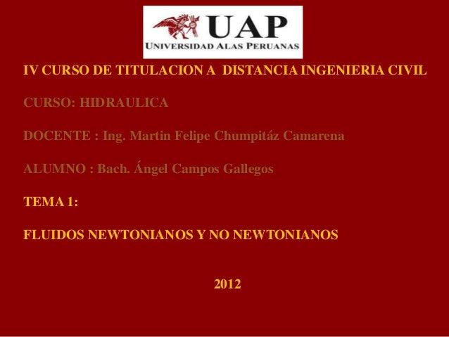 IV CURSO DE TITULACION A DISTANCIA INGENIERIA CIVIL CURSO: HIDRAULICA DOCENTE : Ing. Martin Felipe Chumpitáz Camarena ALUM...