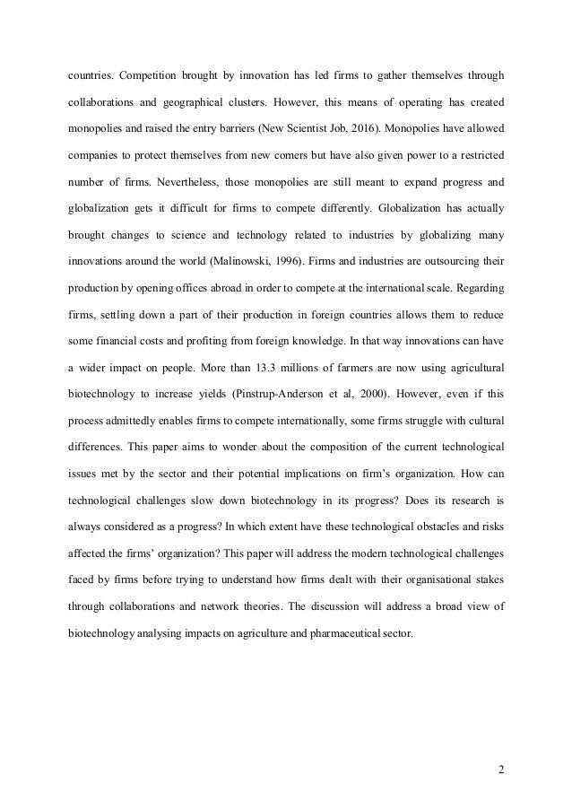 essay on the technological and organization challenges in biotech fir  developing and emerging