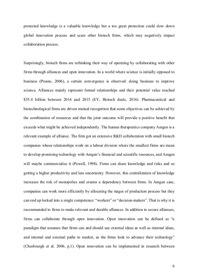 essay on the technological and organization challenges in biotech fir   6