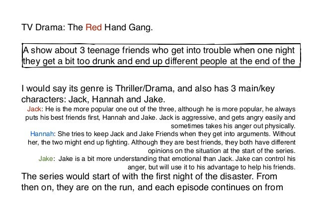 TV Drama: The Red Hand Gang.A show about 3 teenage friends who get into trouble when one nightthey get a bit too drunk and...