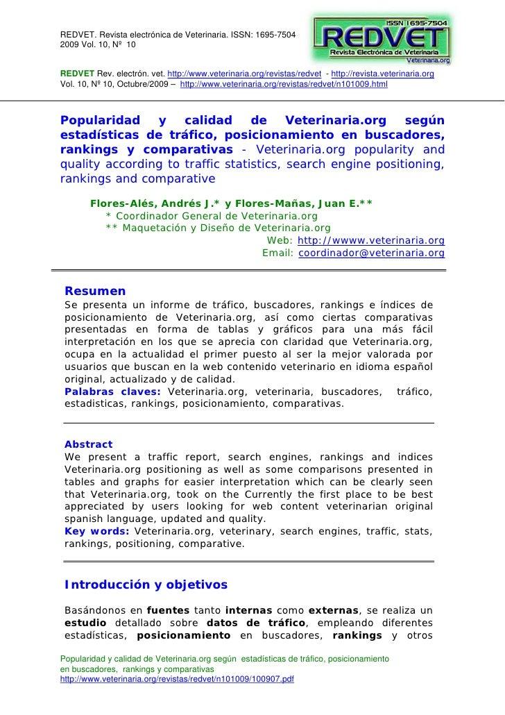 REDVET. Revista electrónica de Veterinaria. ISSN: 1695-7504 2009 Vol. 10, Nº 10   REDVET Rev. electrón. vet. http://www.ve...