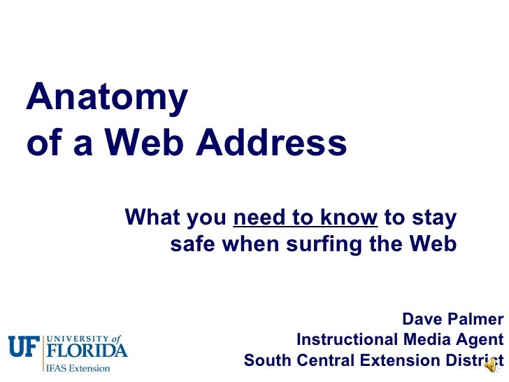 Anatomy  of a Web Address What you  need to know  to stay safe when surfing the Web Dave Palmer Instructional Media Agent ...
