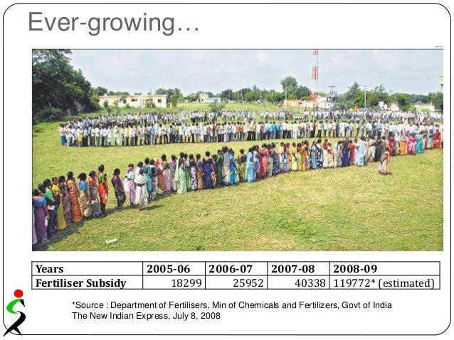 Ever-growing… Years 2005-06 2006-07 2007-08 2008-09 Fertiliser Subsidy 18299 25952 40338 119772* (estimated) Years 2005-06...