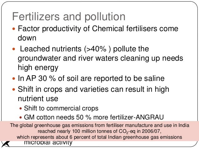 Fertilizers and pollution  Factor productivity of Chemical fertilisers come down  Leached nutrients (>40% ) pollute the ...