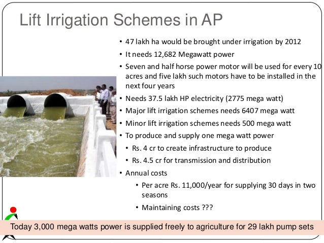 Lift Irrigation Schemes in AP Today 3,000 mega watts power is supplied freely to agriculture for 29 lakh pump sets • 47 la...