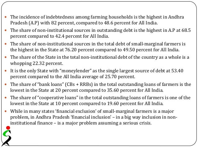  The incidence of indebtedness among farming households is the highest in Andhra Pradesh (A.P) with 82 percent, compared ...