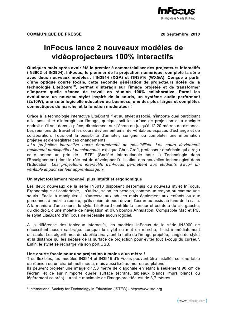 Nouvelle série Infocus IN3900