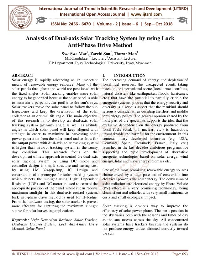 Analysis of Dual-axis Solar Tracking System by using Lock Anti-Phase …