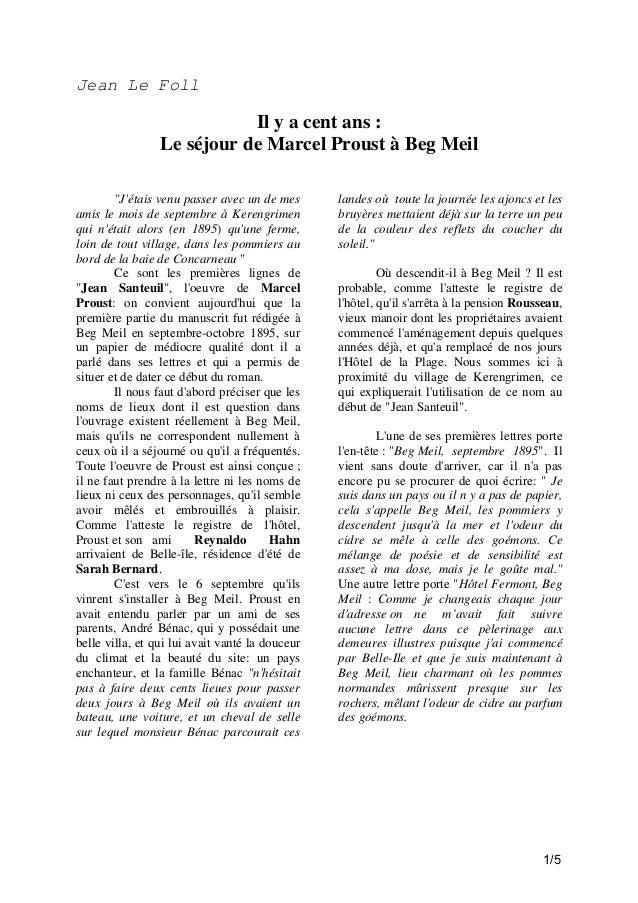 """Jean Le Foll  Il y a cent ans : Le séjour de Marcel Proust à Beg Meil """"J'étais venu passer avec un de mes amis le mois de ..."""