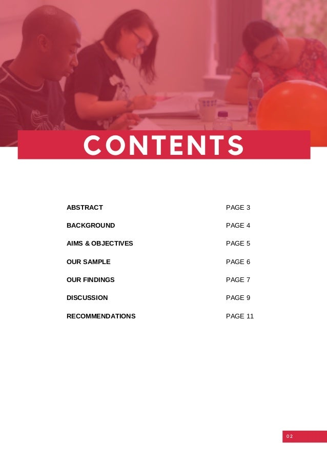 02 CONTENTS RECOMMENDATIONS ABSTRACT BACKGROUND AIMS & OBJECTIVES OUR SAMPLE OUR FINDINGS DISCUSSION PAGE 11 PAGE 3 PAGE 4...