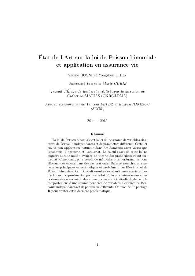 État de l'Art sur la loi de Poisson binomiale et application en assurance vie Yacine HOSNI et Yongshen CHEN Université Pie...