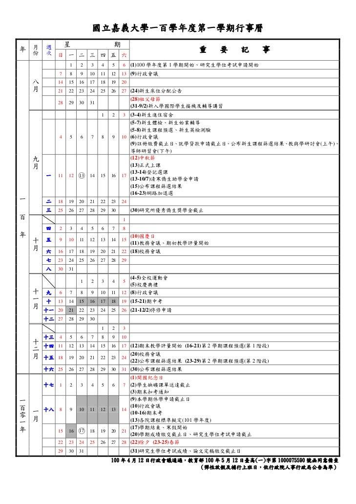 國立嘉義大學一百學年度第一學期行事曆        月    週        份    次        星                    期年                                             ...