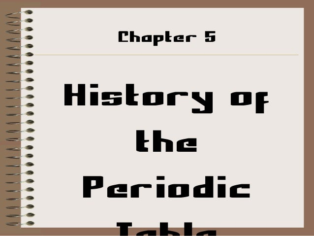 Chapter 5  History of the Periodic