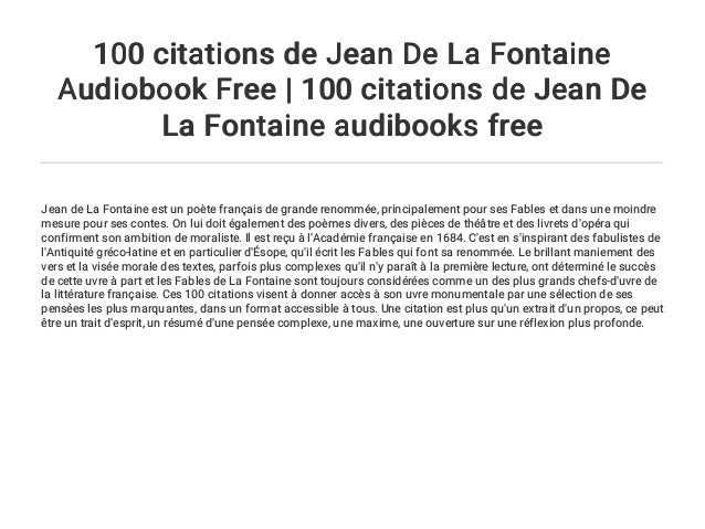 100 Citations De Jean De La Fontaine Audiobook Free 100 Citations D