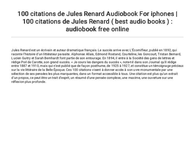 100 Citations De Jules Renard Audiobook For Iphones 100