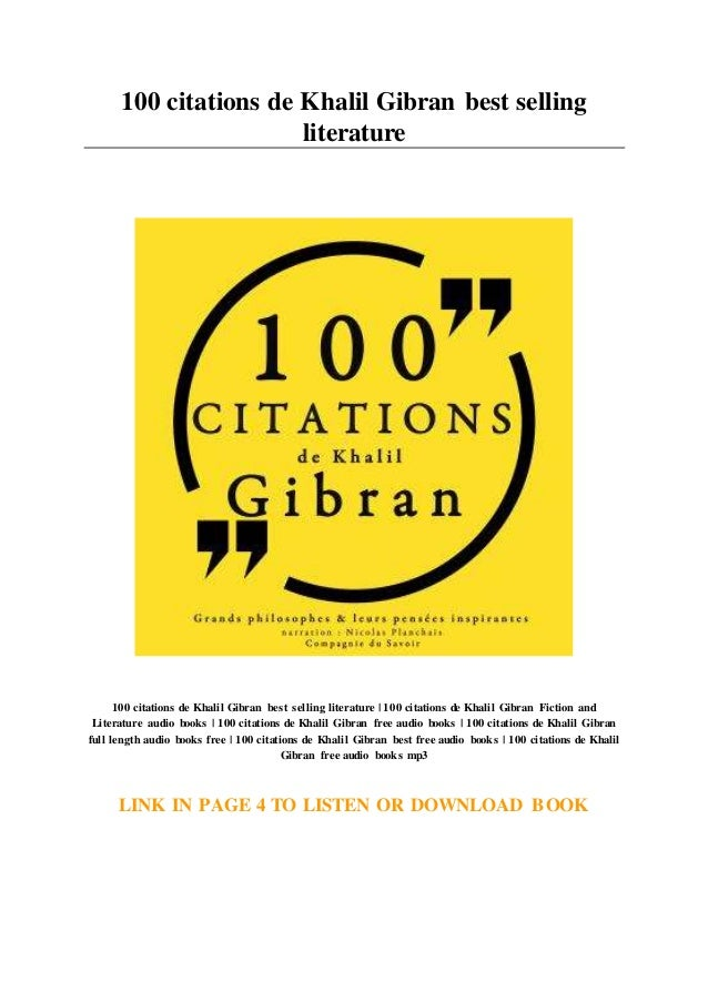 100 Citations De Khalil Gibran Best Selling Literature