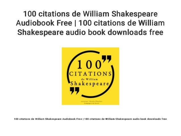 100 Citations De William Shakespeare Audiobook Free 100 Citations D
