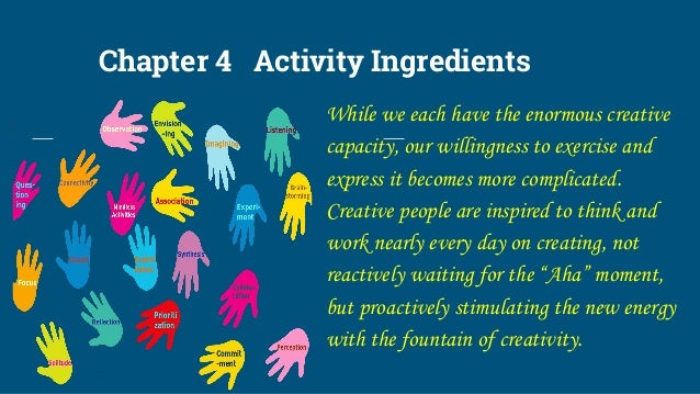 Chapter 4 Activity Ingredients While we each have the enormous creative capacity, our willingness to exercise and express ...